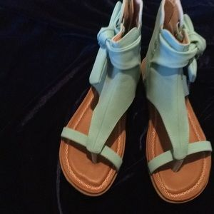 2lips too turquoise faux suede gladiator sandals.